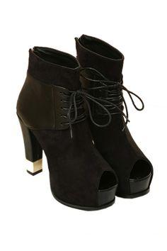 Peep Toe Shoe Booties with Metal Heel