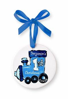 Personalized Hand Painted Train Ornament - Great for baby's 1st Christmas!