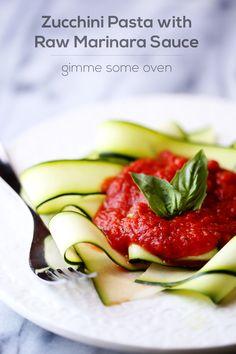Zucchini Pasta with Raw Marinara Sauce   gimmesomeoven.com