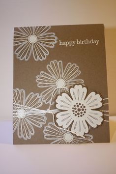 Mixed bunch stamps, Blossom punch.  Can't beat white on kraft!