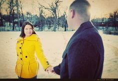 beautiful background and photos in coats - family photos in winter