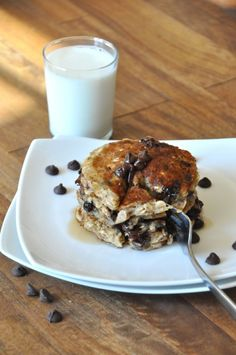 chocolate chip oatmeal cookie pancakes- whole wheat flour and bananas