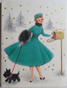 1950s Hallmark Lovely Lady Scottie Dog at The Mailbox Vtg Christmas