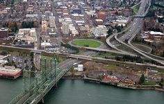 Vancouver Washington Waterfront Aerial over the Columbia River - Oregon
