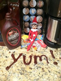 Elf on the shelf got into the Hershey Syrup