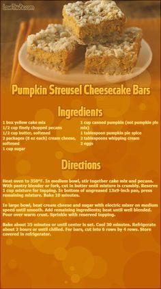 bar recip, pumpkin streusel, gluten free cakes, streusel cheesecak, cheesecake bars, cake mixes, pumpkin cheesecake, cheesecak bar, dessert
