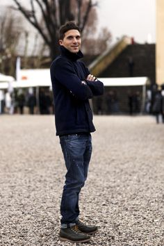 Navy blue short wool manteau croisé, blue jeans, hiking style boots / men fashion