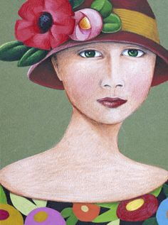 Green Eyed Woman – Original Artwork.   Mary E.