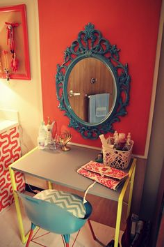 Love this mix of red and chevron for a dorm room or office, an antique mirror adds the finishing touch! #dorm #style #vintage #decorating