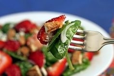 Spinach Strawberry Salad with Candied Pecans, Feta and Raspberry Poppyseed Dressing