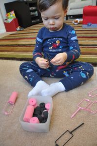 spong curler, bag, homemade toys, old school, toddler games, fine motor, motor skills, kid, toddler activities