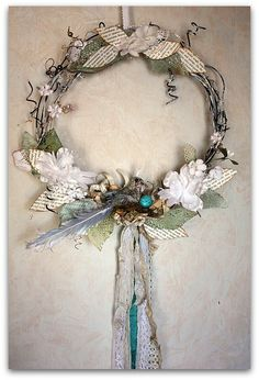 Spring wreath inspiration ~ wish I could play along at Papercowgirl and learn the techniques!