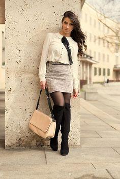 Vila Shirt, H&M Skirt, Zara Bag, Tamaris High Waisted Boots