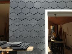 Hexagonal slate shingles