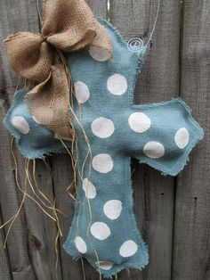 Burlap Cross Burlap Door Hanger Blue Grey with by nursejeanneg