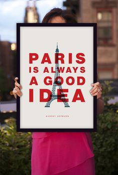 "Inspirational Quote Audrey Hepburn ""Paris Is Always a Good Idea"" Retro Art Style Typography Print Wall Decor"