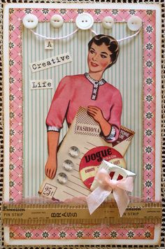 dimestore vogue card craft, vintage chic, greeting cards, vintage paper dolls, buttons, button card, vintage pins, evenings, vintage atc cards