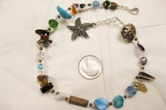 Fun and Funky Beaded Anklet  genuine stones by michellesaporito, $4.98