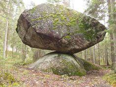 Rare nature phenomenon in Finland,  giant monolith balancing on a rock
