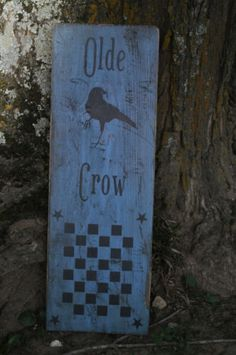 Colonial Blue Wood Olde Crow Sign/Game Board Country Primitive Folk Art