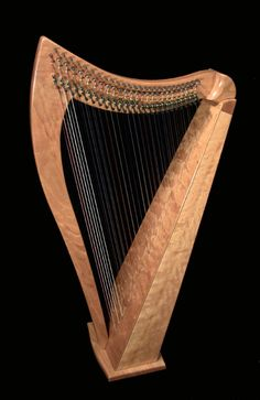 A double-strung harp by Dusty Strings.  The figured cherry wood is gorgeous!