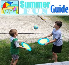 Summer fun guide featuring outdoor games, water fun, crafts, pool noodle crafts and water balloon games.