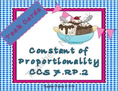 Constant of Proportionality Task Cards CCS 7. RP. 2 from Teacher Twins on TeachersNotebook.com -  (11 pages)  - This set of task cards contains 9 tables, 10 equations, and 9 graphs. Students are to determine if the table, equation or graph are proportional.