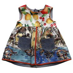 Dolce & Gabbana Junior Spring 2012 junior babi, uniqu babi, sleeveless dress, babi dress, landscap print, babi girl, baby dresses, kid