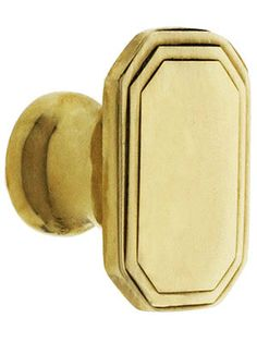 Polished Brass Cabinet Knobs. Octagonal Deco Cabinet Knob - 1 1/4 x 7/8