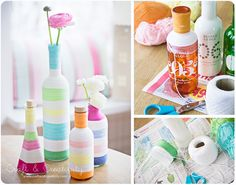 yarn and glue to decorate bottles