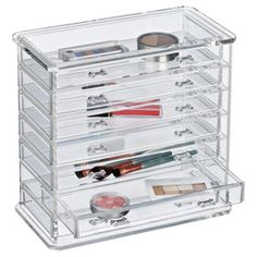 The Container Store > 7-Drawer Premium Acrylic Chest. This is one of the jewelry organizers the store carries.  I think this would look stylish on a dresser or as you see here it might sit on a bathroom counter and hold your everyday make up supplies.
