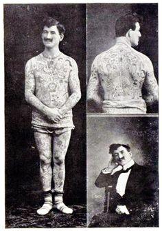 1910s Circus Performer Benn Abu Bekier Full Body Tattoo. S)
