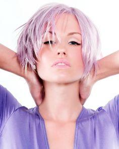Subtle lavender hair.
