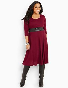 Montebello Dress: Our soft, thermal-knit dress comes with its own accessories for endless possibilities. A removable looped scarf in the same soft, knit fabric layers over the scoop neckline. Removable elastic belt. catherines.com #catherines #plussizefashion #fallstyle #plussize #plussizedress