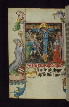 Illuminated manuscript, Prayer book of Bishop Leonhard von Laymingen of Passau, Martyrdom of St. Philip with kneeling bishop and Laymingen heraldry, Walters Manuscript W.163, fol. 132v   Flickr - Photo Sharing!