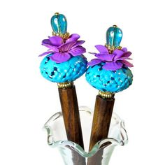 Floral Hair Accessories,  Flower Hair Sticks in Tropical Turquoise and Fuchsia