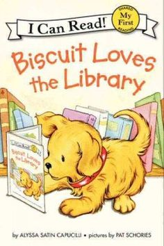 """ER CAP. On """"Read to a Pet Day"""" at the library, Biscuit plays with story time puppets, visits with friends, and listens to recorded books before a librarian helps him discover his favorite activity of all."""