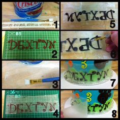 Attaching letters or strips onto cakes straight!