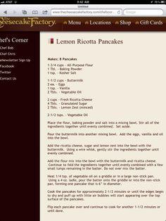The Cheesecake Factory Lemon Ricotta pancakes recipe