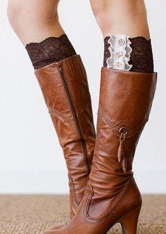 Dark Brown Lace Boot Cuffs
