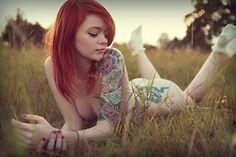 angel, juli kennedi, bodi art, tatoo girl, lass suicid, suicid girl, redheads, ink girl, tattoo