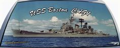 USS Boston US Navy Ship. Remember your days on ship with a custom fit rear window graphic mural for your car or truck rear window.