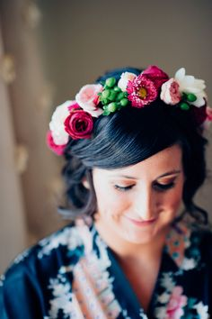pink and green floral crown, photo by Jess Jackson http://ruffledblog.com/intimate-queensland-wedding #weddinghair #flowercrown