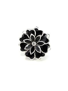 Black and Silver Flower Ring - $12.00 : FashionCupcake, Designer Clothing, Accessories, and Gifts