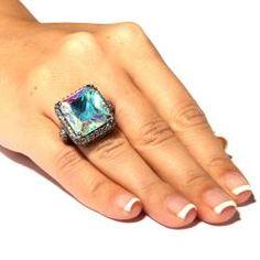 Lillith Star Black Ruthenium AB Cubic Zirconia Ring