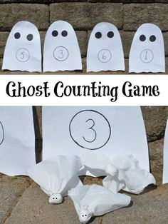 Ghost Counting Game: An active #Halloween game to practice numbers! #preschool #education (repinned by Super Simple Songs)