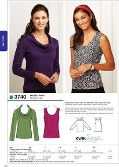 Kwik Sew 3740 Close fitting pull-over tops have scoop neckline. View A has cowl collar and full length sleeves. View B is sleeveless and neckline and armholes are finished with self fabric bindings. View A and B necklines can be interchanged (fabric requirement will vary).
