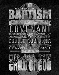LDS Baptism Chalkboard Art