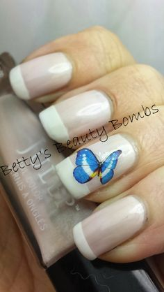Betty's Beauty Bombs: Delicate Butterfly Mani #nails #nailart #manicure #polish #french #butterfly #decals