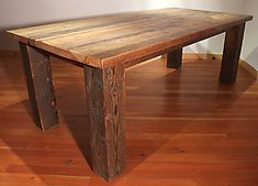 "Love the rough, nicked 6""x6"" legs on this old barn wood table."
